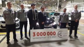 TPCA vyrobila 3 miliony automobilů